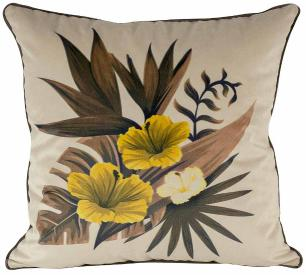 Jogo de Almofadas Floral Hibiscus -50 x 50-Com Enchimento-Veludo
