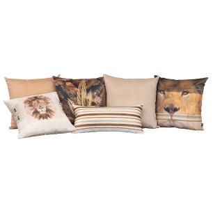 Kit de Almofadas Decorativas Leão Africano 50 x 50 Com Enchimento Veludo
