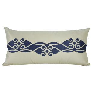 Almofada Arabesco Azul Marinho 60 x 30 Com Enchimento Veludo