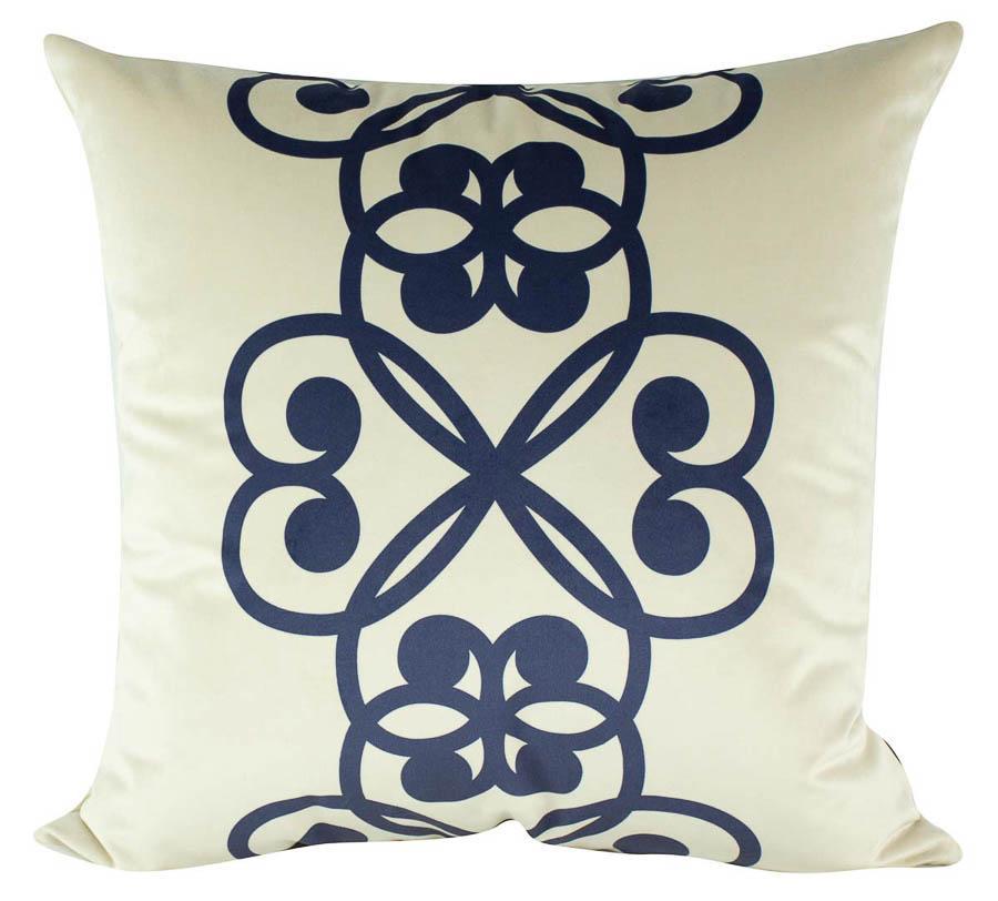 Almofada Arabesco Azul Veludo -50 x 50