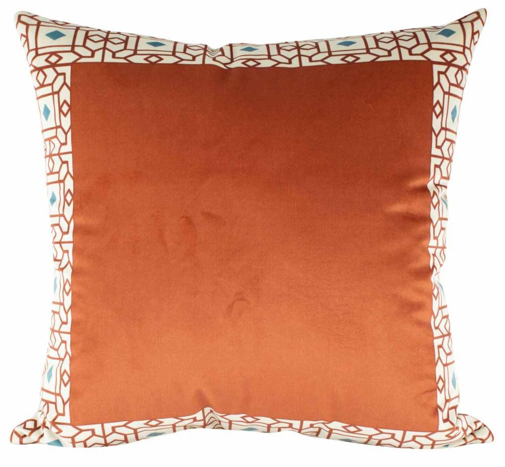 Almofada Arabesco Terracota 50 x 50 Com Enchimento Veludo