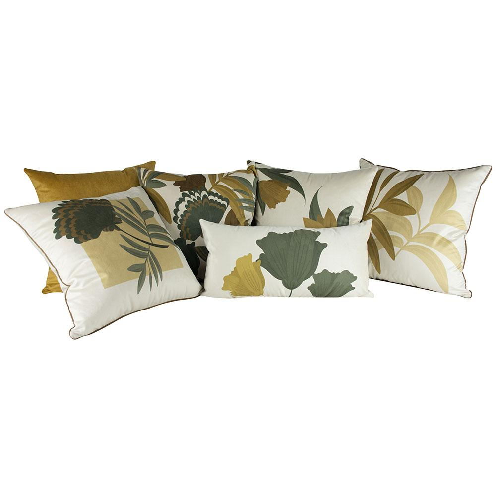 Jogo de Almofadas Floral Mostarda 45 x 45 Com Enchimento Veludo