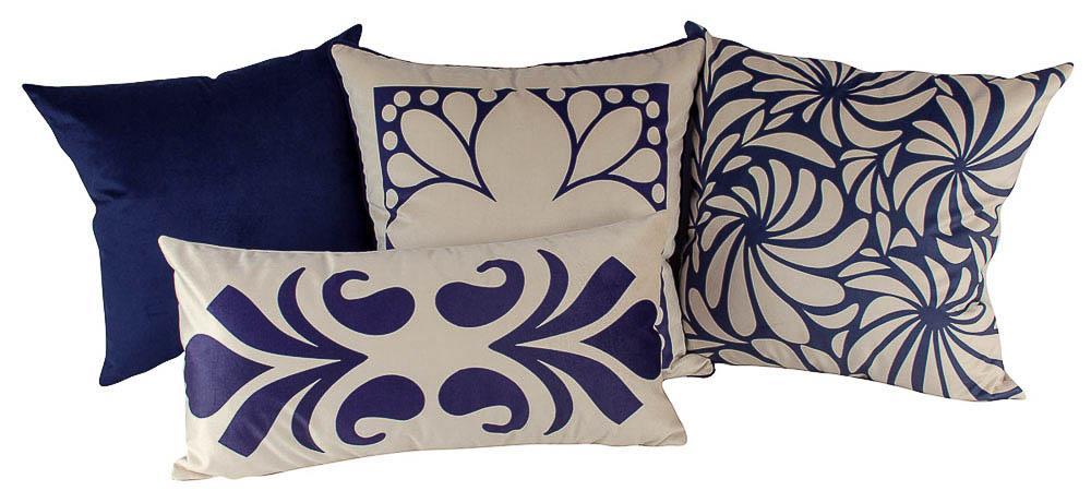 Jogo de Almofadas Arabesco Azul-50 x 50-Sem Enchimento-Poliéster