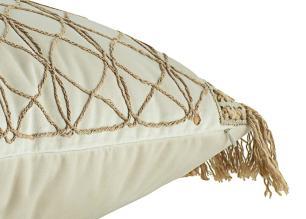 Almofada Bordada Com Aplique e Franja Bege-50 x 50-Com Enchimento-Veludo