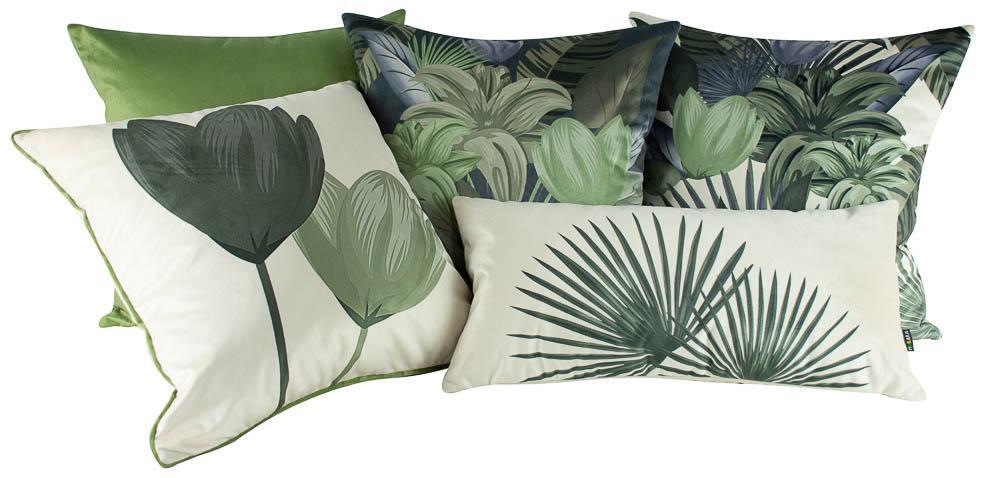 Jogo de Almofadas Floral Verde 50 x 50 Com Enchimento Veludo