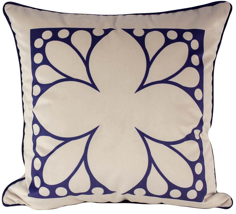 Almofada Arabesco Azul-50 x 50-Com Enchimento-Poliester com Algodao