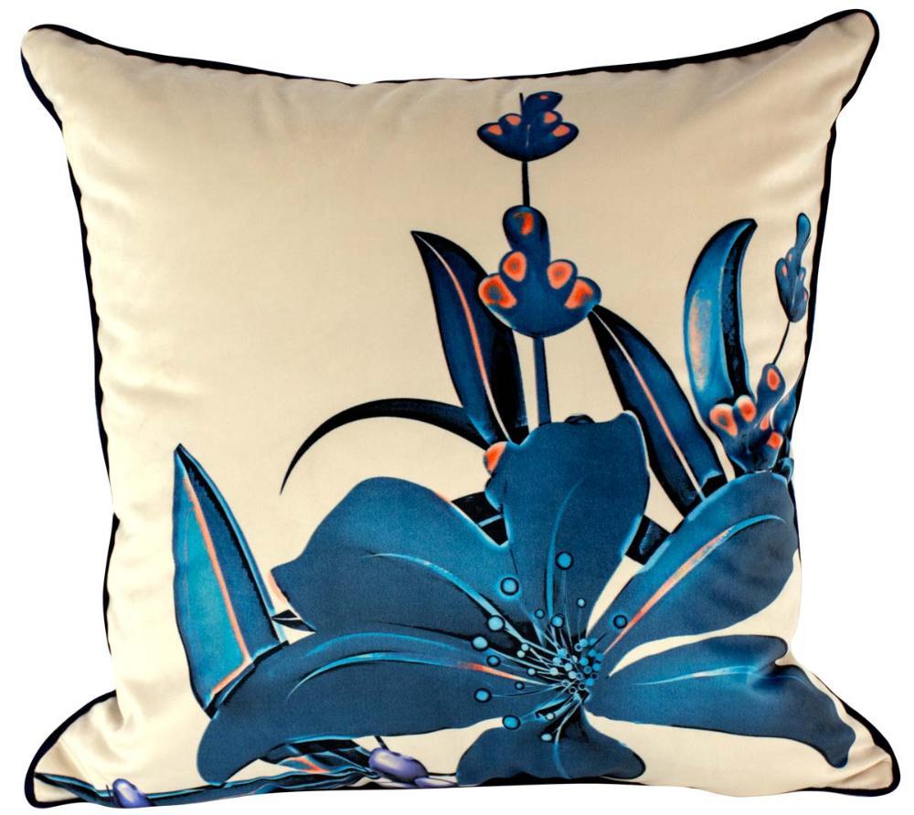 Almofada Flor Azul-45 x 45-Com Enchimento-Veludo