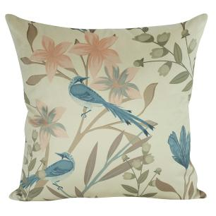 Almofada Floral Azul Turquesa 45 x 45 Com Enchimento Veludo