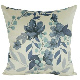 Almofada Floral Azul Serenity 45 x 45 Com Enchimento Veludo