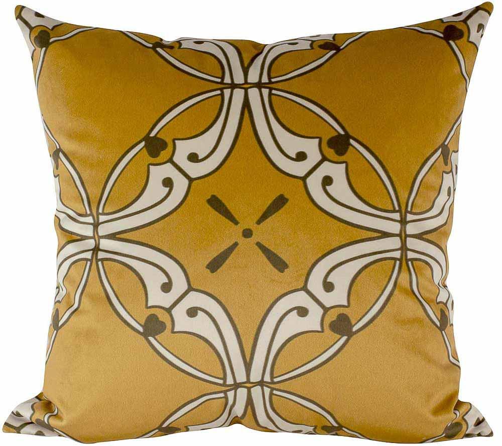 Almofada Arabesco Mostarda-45 x 45-Com Enchimento-Veludo