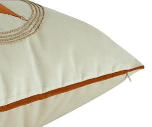 Almofada Bordada Com Aplique Terracota-50 x 50-Com Enchimento-Veludo