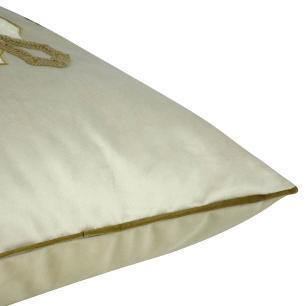 Almofada Bordada Bege Escuro 50 x 50 Com Enchimento Veludo
