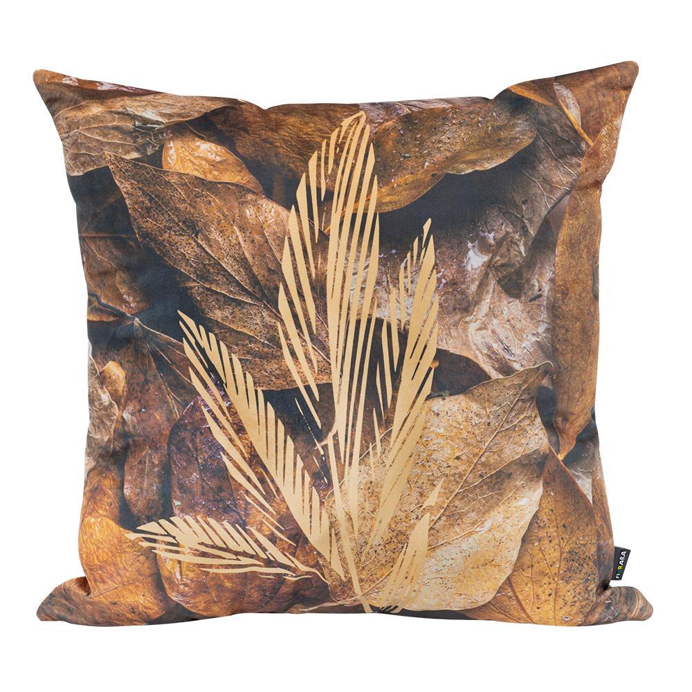 Almofada Decorativa Folhas Secas 50 x 50 Com Enchimento Veludo