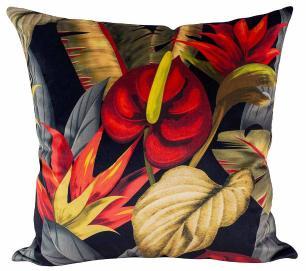 Almofada Floral Copo-de-Leite Preto-45 x 45-Com Enchimento-Veludo