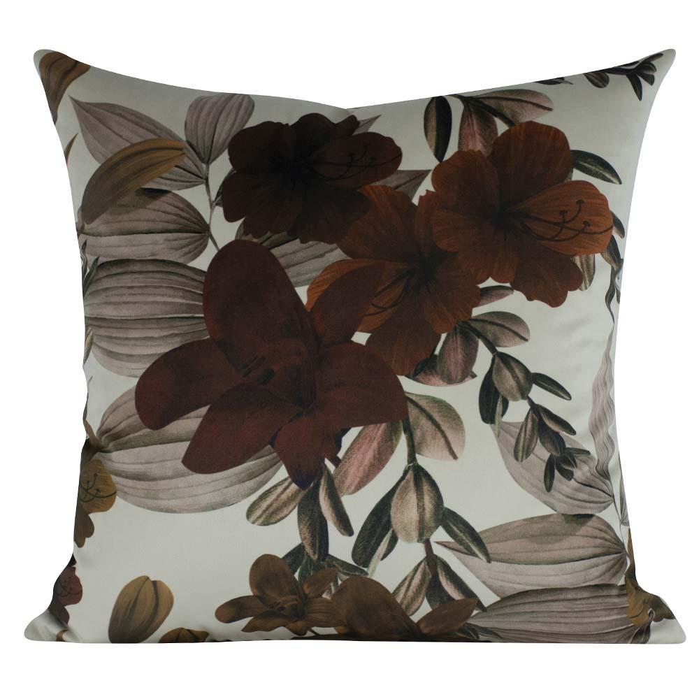 Almofada Floral Marrom 45 x 45 Com Enchimento Veludo