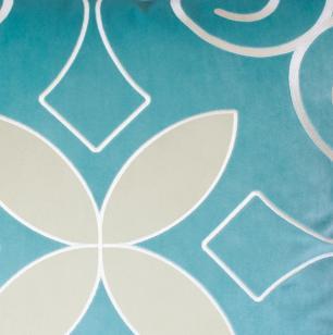 Almofada Bordada Com Aplique Azul Tiffany-50 x 50-Com Enchimento-Veludo