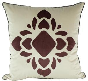 Almofada Arabesco Bordô 50 x 50 Com Enchimento Veludo