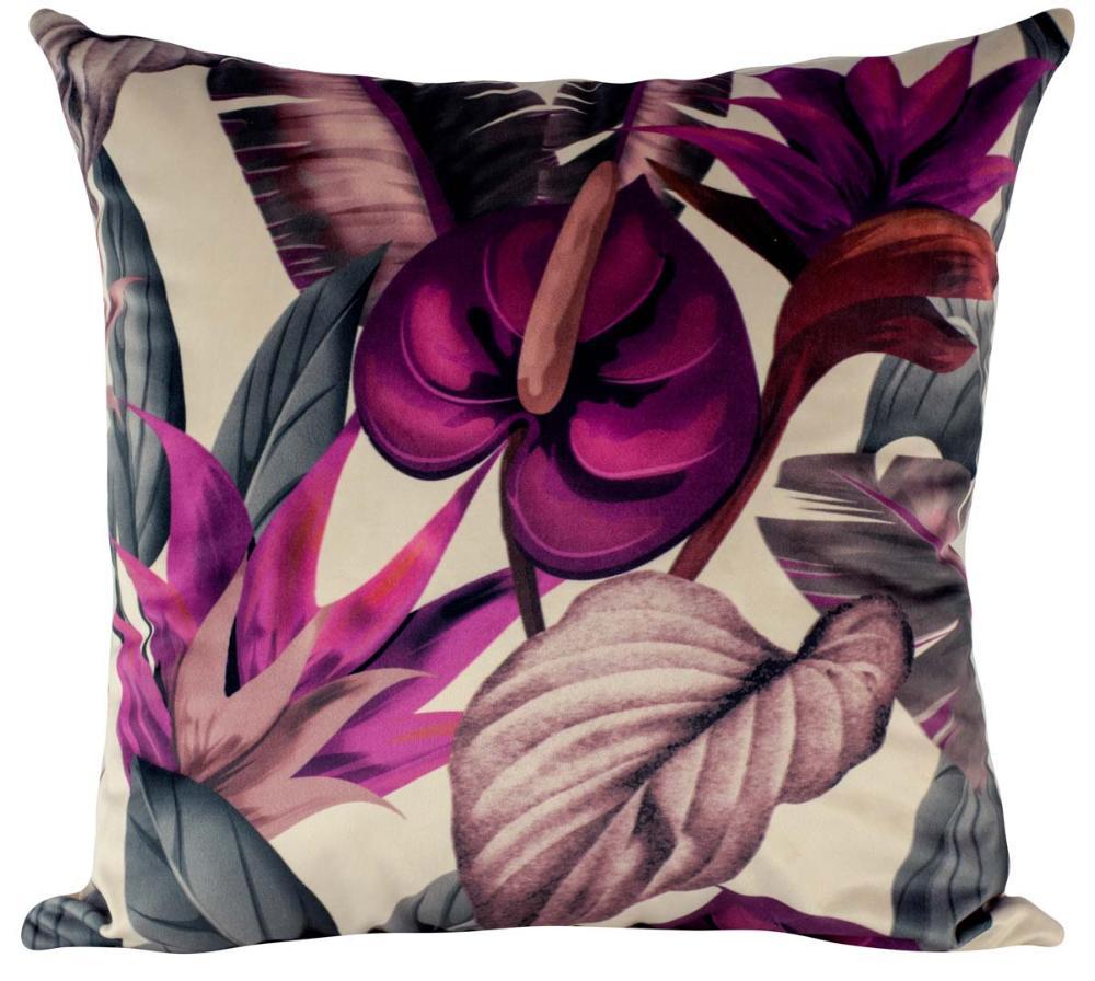 Almofada Floral Copo-de-Leite-45 x 45-Com Enchimento-Veludo