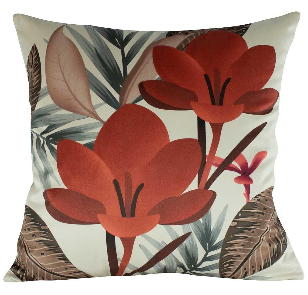 Almofada Floral Terracota 50 x 50 Com Enchimento Veludo