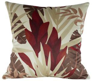 Almofada Floral Vermelho 50 x 50 Com Enchimento Veludo