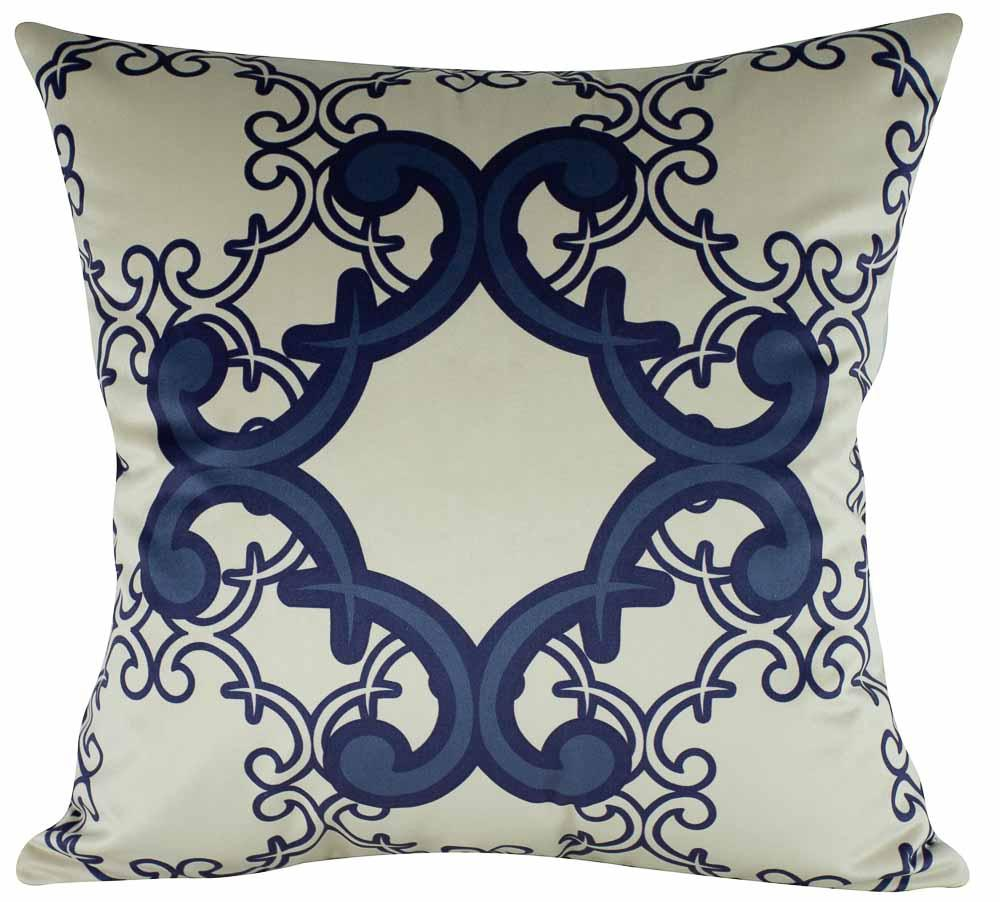 Almofada Arabesco Azul 45 x 45 Com Enchimento Veludo