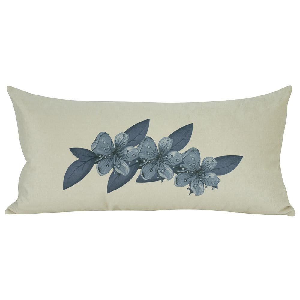Almofada Floral Azul Serenity 60 x 30 Com Enchimento Veludo