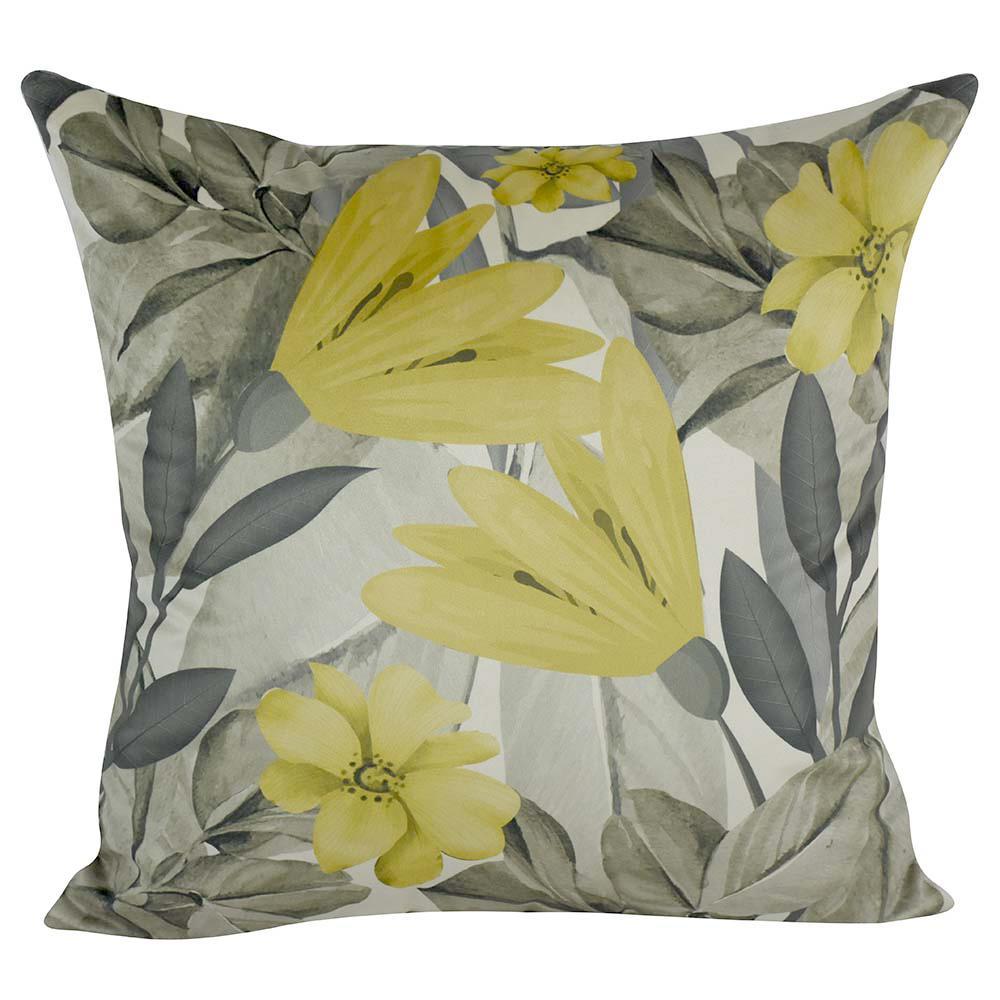 Almofada Decorativa Floral Mostarda 45 x 45 Com Enchimento Veludo