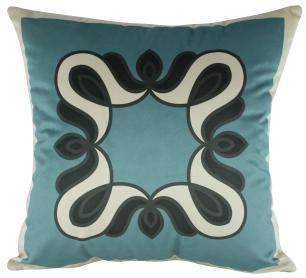 Almofada Arabesco Azul Tiffany Veludo 50x50