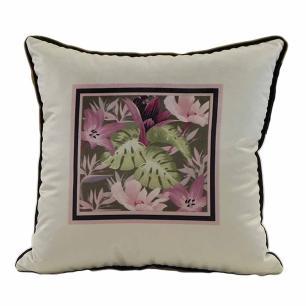 Jogo de Almofadas Floral Rose 50 x 50 Com Enchimento Veludo