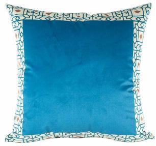 Jogo de Almofadas Arabesco Azul 50 x 50 Com Enchimento Veludo