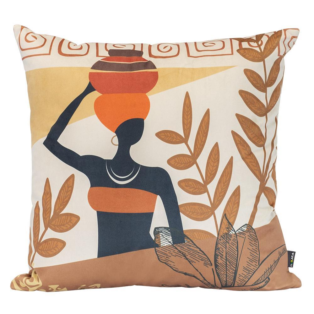 Almofada Decorativa Africana 50 x 50 Com Enchimento Veludo
