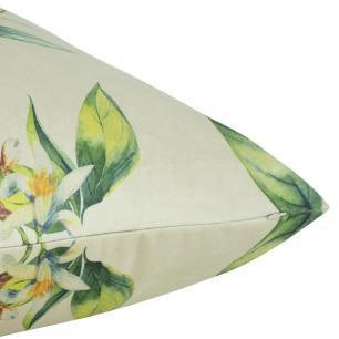 Almofada Floral Amarela 45 x 45 Com Enchimento Veludo