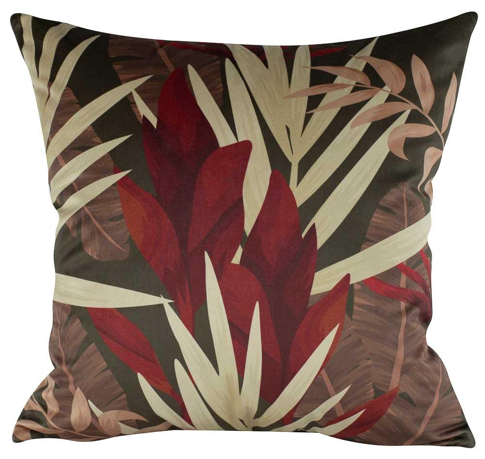 Almofadas Floral Vermelho 50 x 50 Com Enchimento Veludo