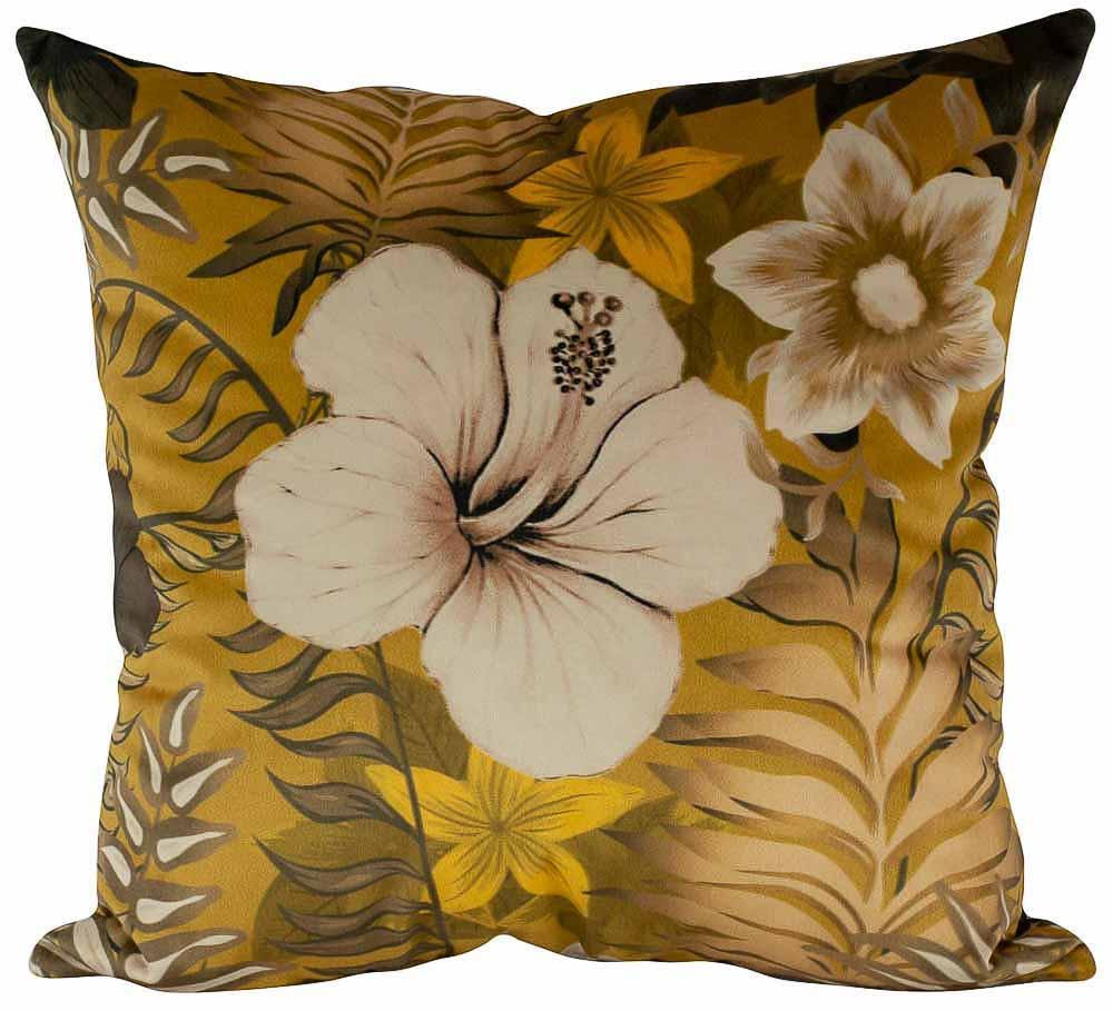 Almofada Floral Mostarda-45 x 45-Com Enchimento-Veludo