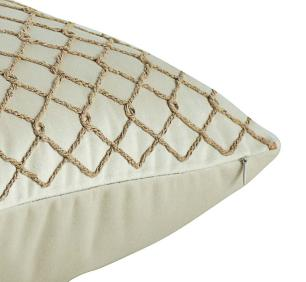 Almofada Bordada Bege-50 x 50-Com Enchimento-Veludo