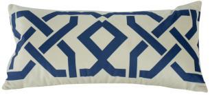 Almofada Geométrica Azul 60x30 Com Enchimento Veludo