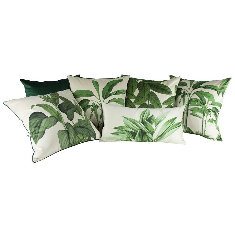 Jogo de Almofadas Folhas Verde 45 x 45 Com Enchimento Veludo
