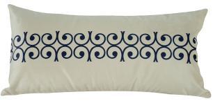 Almofada Arabesco Azul 60 x 30 Com Enchimento Veludo
