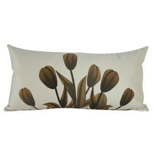 Jogo de Almofadas Floral Marrom 50 x 50 Com Enchimento Veludo