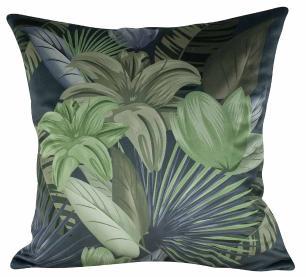 Almofada Floral Verde 45 x 45 Com Enchimento Veludo