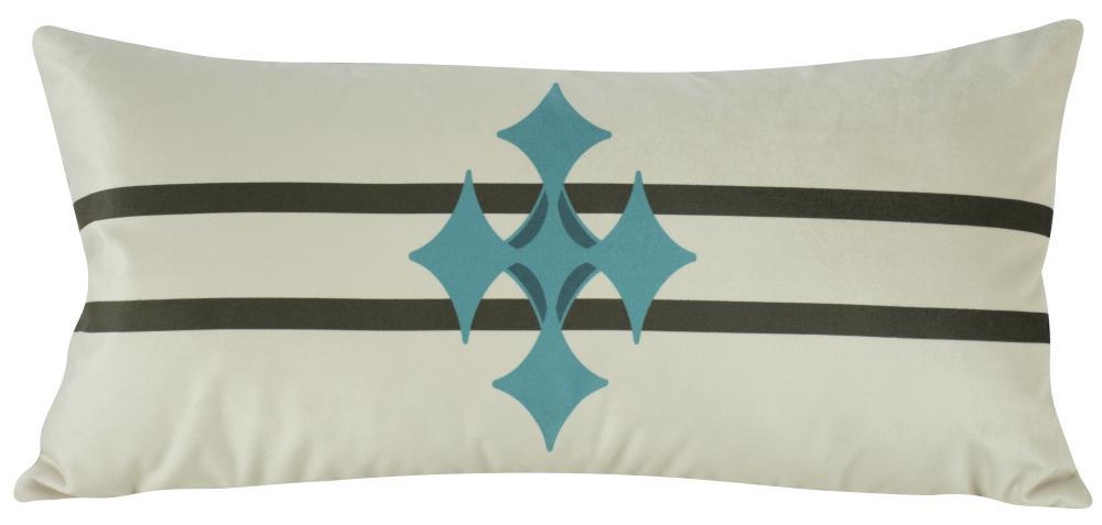 Almofada Geométrica Azul Tiffany Veludo - 60x30