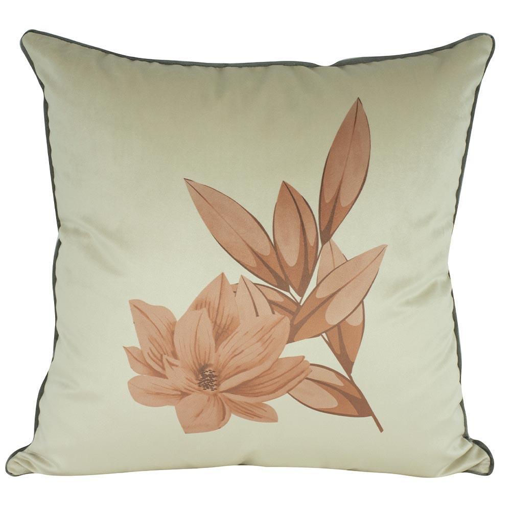 Almofada Floral Laranja 50 x 50 Com Enchimento Veludo