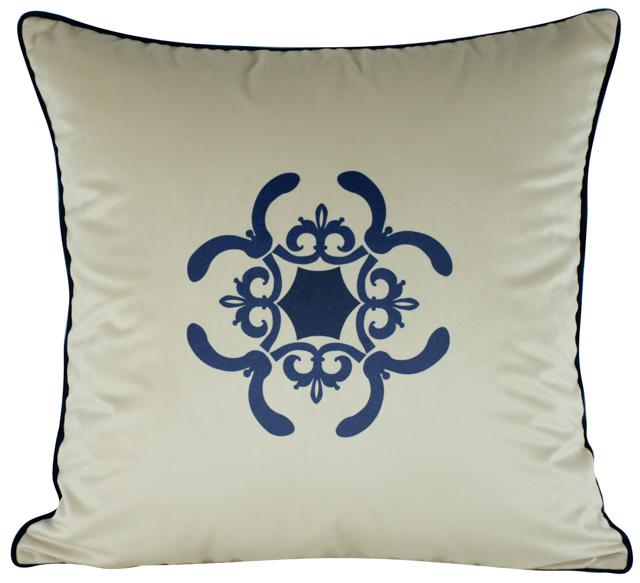 Almofada Arabesco Azul 50x50 Com Enchimento Veludo
