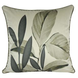 Almofada Decorativa Folhas Cinza 45 x 45 Com Enchimento Veludo