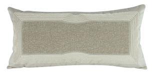 Almofada Bordada Com Aplique Bege-60 x 30-Com Enchimento-Veludo