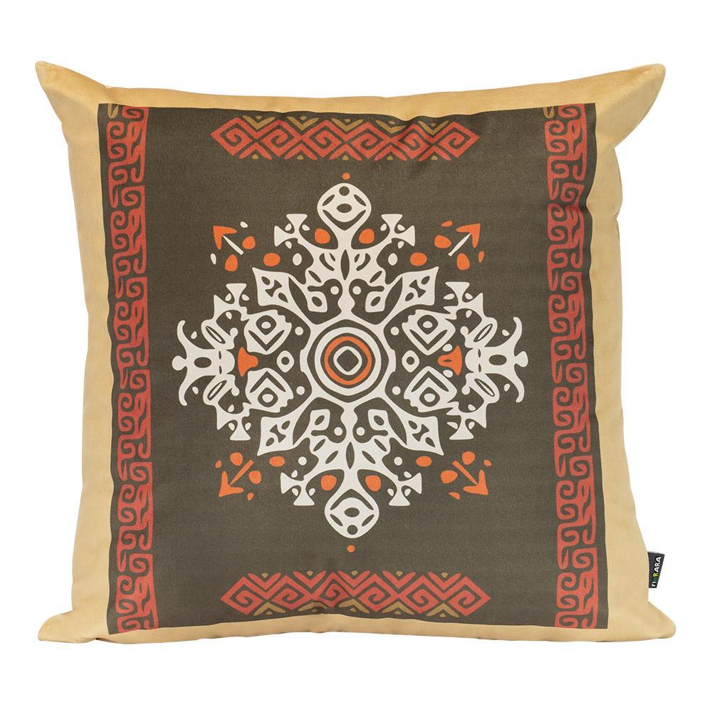 Almofada Decorativa Boho Marrom 45 x 45 Com Enchimento Veludo