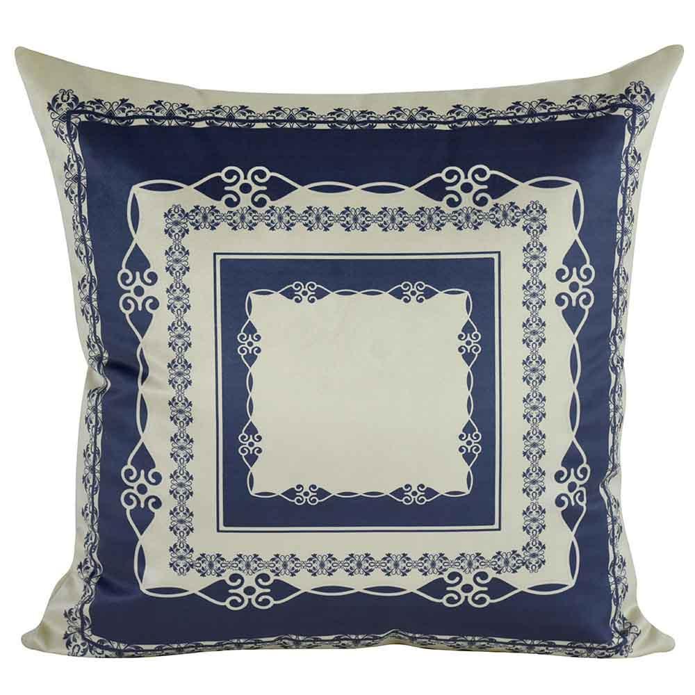 Almofada Arabesco Azul Marinho 45 x 45 Com Enchimento Veludo