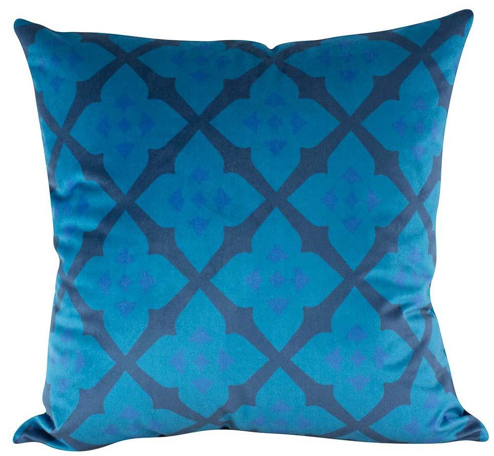 Almofada Arabesco Azul 50 x 50 Com Enchimento Veludo