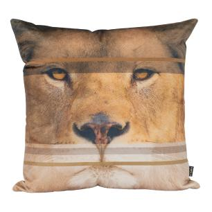 Almofada Decorativa Leão Africano 45 x 45 Com Enchimento Veludo