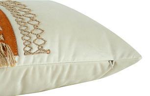 Almofada Bordada Com Aplique e Franja Terracota-60 x 30-Com Enchimento-Veludo